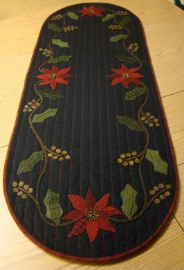 Holly and Poinsettia Table Runner -  Wool Applique Pattern