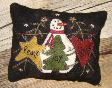 Peace Love Joy Pincushion - Wool Applique Kit with Pattern