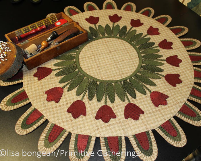 Tulip Gathering Table Mat -  Wool Applique Pattern