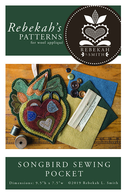 Songbird Sewing Pocket -  Wool Applique Pattern by Rebekah L. Smith