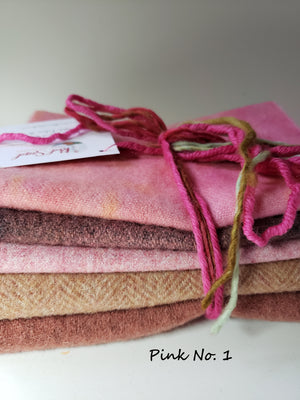 FOR THE LOVE OF PINK - 1/2 Yard - 100% OOAK Wool Bundle for Rug Hooking or Wool Applique - RSS145