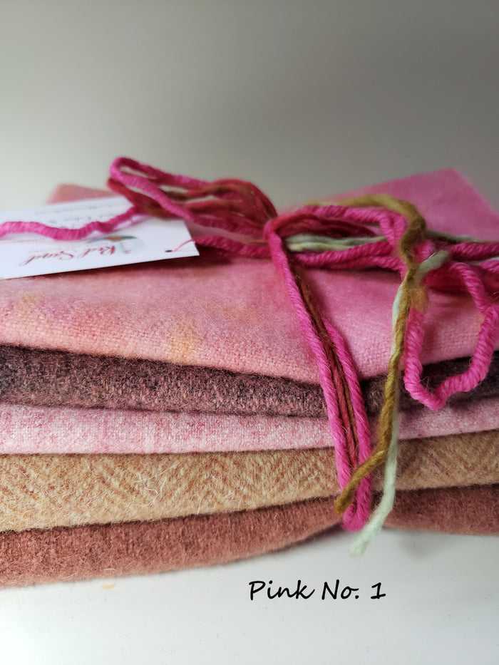 RSS145 - For the Love of Pink - 1/2 Yard - 100% OOAK Wool Bundle for Rug Hooking or Wool Applique