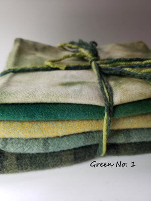 FOR THE LOVE OF GREEN - 1/2 Yard - 100% OOAK Wool Bundle for Rug Hooking or Wool Applique - RSS146