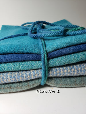 FOR THE LOVE OF BLUE - 1/2 Yard - 100% OOAK Wool Bundle for Rug Hooking or Wool Applique - RSS147