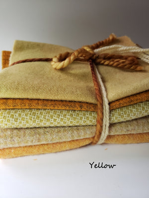 FOR THE LOVE OF YELLOW - 1/2 Yard - 100% OOAK Wool Bundle for Rug Hooking or Wool Applique RSS148