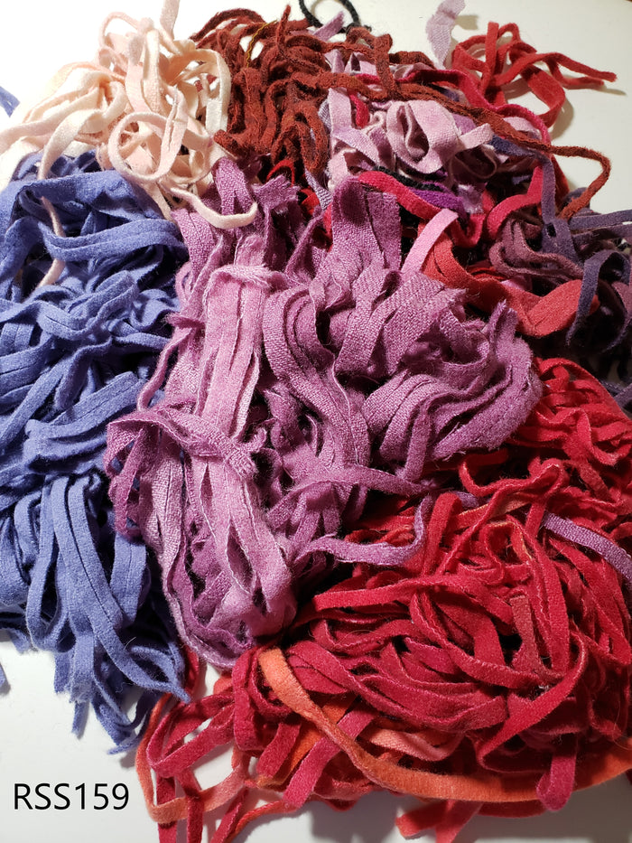 Red, Pink and Purple Hand Dyed Assorted Mix Wool Strips/Worms #8 and #6 for Rug Hooking