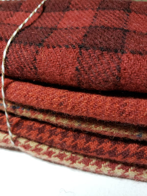 RSS163 - RED HOMESPUN - ONE yard plus - RED and BEIGE Primitive Wool Bundle for Rug Hooking or Wool Applique