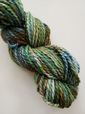ANNE'S ISLAND WALK - BIG TWISTY 2 PLY -  Hand Dyed Shades of Green, Teal and Brown Chunky Yarn for Rug Hooking - RSS226