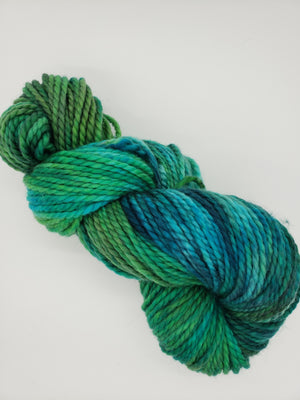 BONSHAW HILLS - LIL TWISTY 2 PLY -  Hand Dyed Shades of Green and Blue Worsted Yarn for Rug Hooking - RSS297