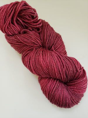 CRANBERRY SPARKLE - Merino/Gold Stellina -  Hand Dyed Shades of Red - Yarn for Rug Hooking - RSS250