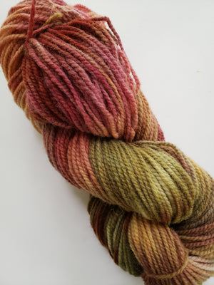 FALL COLOURS -  Hand Dyed Shades of Gold, Orange, Red and Green Worsted Yarn for Rug Hooking - RSS229