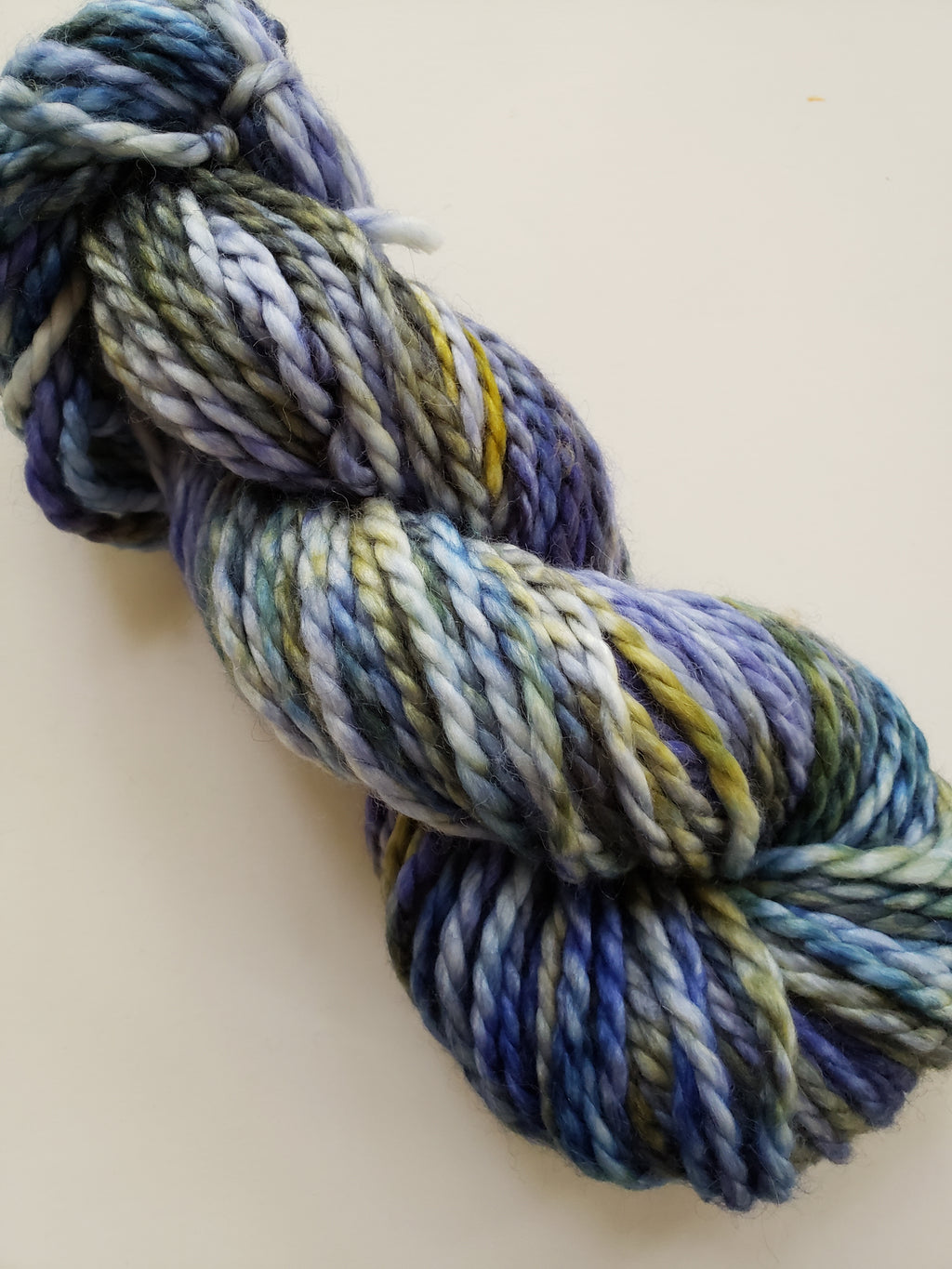 STARRY NIGHT - BIG TWISTY 2 PLY -  Hand Dyed Shades of Blue, Yellow and Cream Chunky Yarn for Rug Hooking - RSS227