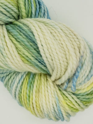 SUNNY SKIES - LIL TWISTY 2 PLY -  Hand Dyed Shades of Blue, Yellow, Cream Worsted Yarn for Rug Hooking - RSS296