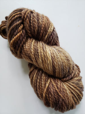 ACORN BROWN - LIL TWISTY 2 PLY -  Hand Dyed Shades of Brown Worsted Yarn for Rug Hooking - RSS217