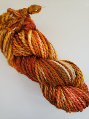 AUTUMN GLORY - BIG TWISTY 2 PLY -  Hand Dyed Shades of Orange, Gold and Caramel Chunky Yarn for Rug Hooking - RSS251