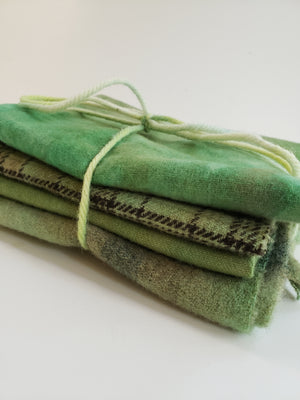 Hand Dyed Studio Cloth Bundles - BACK TO NATURE - Shades of Green -  Wool Fabric  - RSS201
