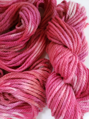 CACTUS FLOWER -  Hand Dyed Pinks and Cream Aran Yarn for Rug Hooking - RSS205