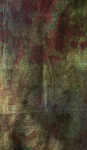 Hand Dyed Studio Cloth - FALL FIELDS -  Shades of Green and Burgundy - Wool Fabric for Rug Hooking and Wool Applique - RSS153