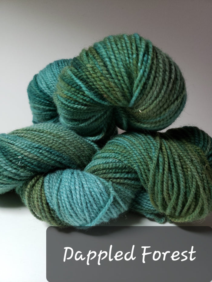 RSS157-4 - DAPPLED FOREST - Hand Dyed Worsted Yarn for Rug Hooking