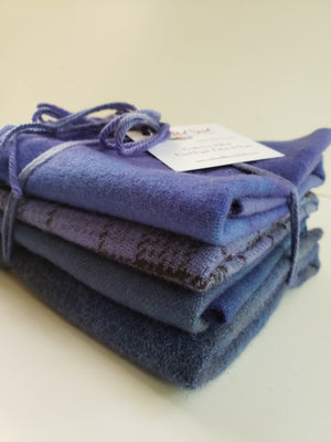 Hand Dyed Studio Cloth Bundles - DEPTHS OF THE SEA - Shades of Blue/Purple -  Wool Fabric - RSS199