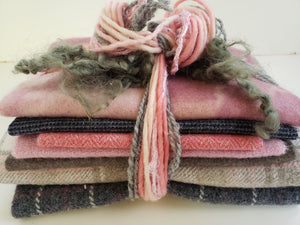 ELEPHANT EARS - Wool Bundle Pink and Gray - 5/8 yard - 100% Wool for Rug Hooking & Wool Applique - RSS175