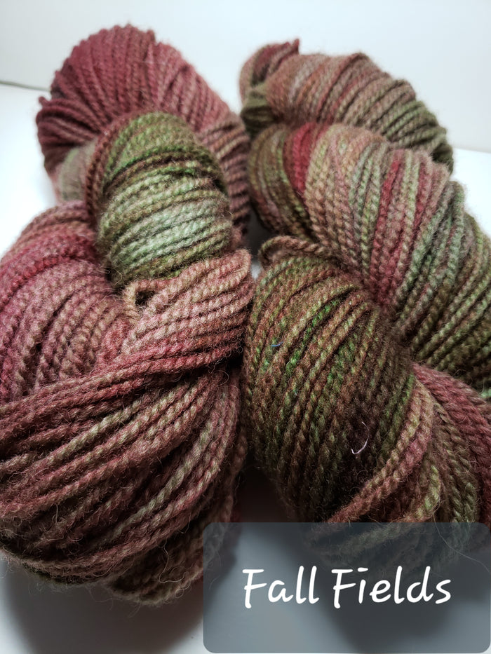 FALL FIELD - Hand Dyed Rusty Red/Green Worsted Yarn for Rug Hooking - RSS153-4