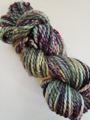 FALL HYDRANGEA - BIG TWISTY 2 PLY -  Hand Dyed Shades of Purple, Green, Yellow and Cream Chunky Yarn for Rug Hooking - RSS253