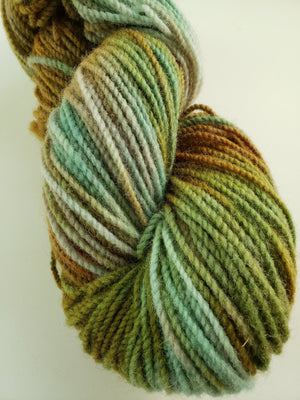 GREEN FIELDS -  Hand Dyed Shades of Green, Gold, Brown Worsted Yarn for Rug Hooking - RSS181