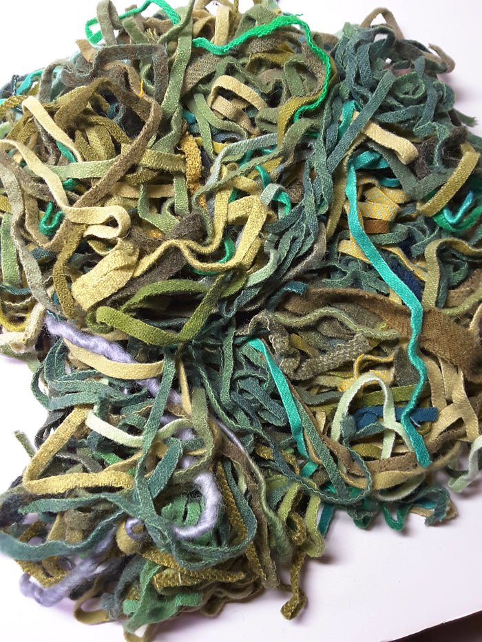 Green Mix Assorted Wool Strips/Worms #8 and #6 for Rug Hooking