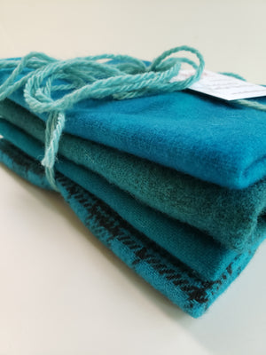 Hand Dyed Studio Cloth Bundles - HIDDEN COVE - Shades of Turquoise -  Wool Fabric - RSS200