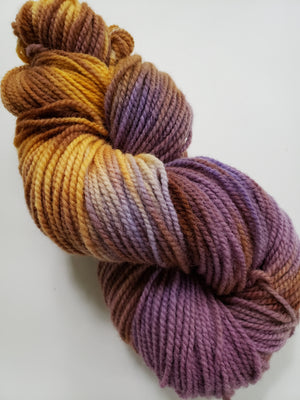 IRIS LOVE -  Hand Dyed Shades of Gold, Yellow, Purple, Lavender and Cream Worsted Yarn for Rug Hooking - RSS211