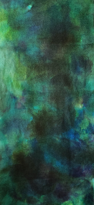 Hand Dyed Studio Cloth - ISLAND NIGHT SKY - Shades of Blues, Greens and Yellows -  Wool Fabric for Rug Hooking and Wool Applique - RSS197