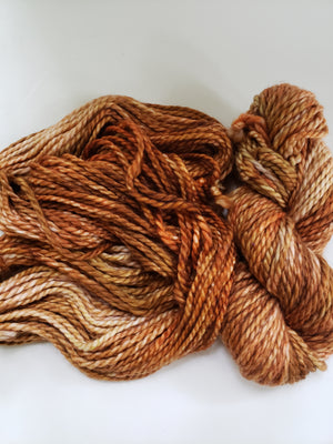 JACK O'LANTERN - BIG TWISTY 2 PLY -  Hand Dyed Shades of Orange, Rust and Beige Chunky Yarn for Rug Hooking - RSS255