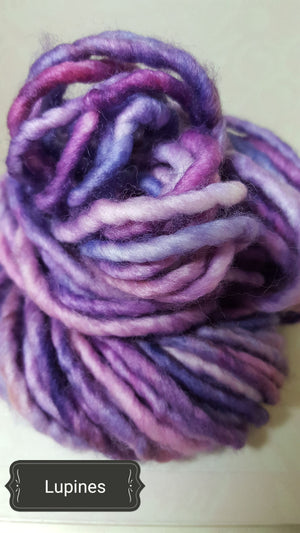 RSS116- LUPINES - Hand Dyed Chunky Yarn for Rug Hooking