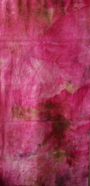 Hand Dyed Studio Cloth - MARKET FLOWERS - Shades of Pink and Greens -  Wool Fabric for Rug Hooking and Wool Applique - RSS198