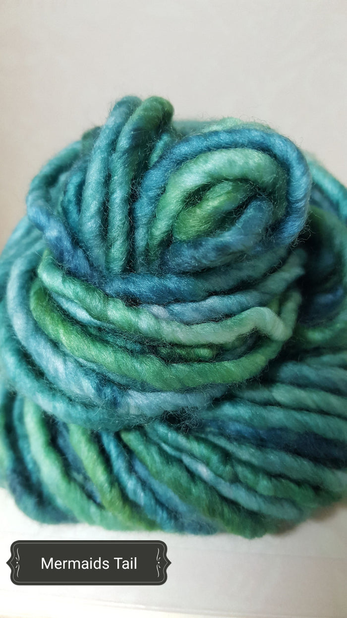 RSS125 - MERMAIDS TAIL - Hand Dyed Chunky Yarn for Rug Hooking