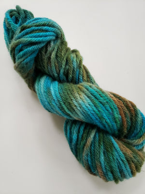 MOTHER EARTH -  Hand Dyed Turquoise, Green and Brown Aran Yarn for Rug Hooking - RSS210
