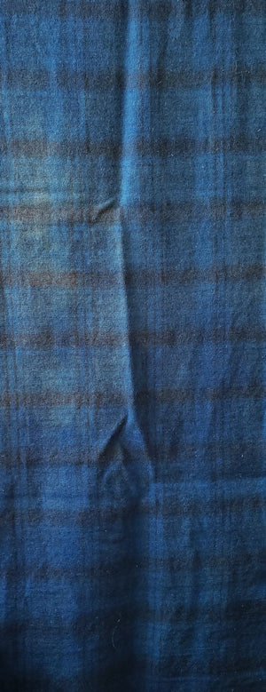 Hand Dyed Studio Cloth - OCEAN CURRENT - Shades of Blue on Plaid -  Wool Fabric for Rug Hooking and Wool Applique - RSS191