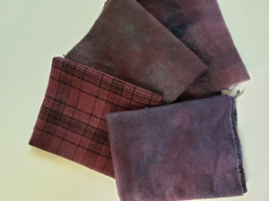 Hand Dyed Studio Cloth Bundles - ON THE VINE - Shades of Purple -  Wool Fabric - RSS202