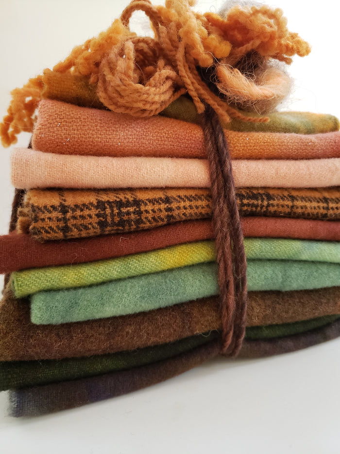 PUMPKIN PATCH - Wool Bundle - one yard - 100% Wool for Rug Hooking & Wool Applique - RSS214