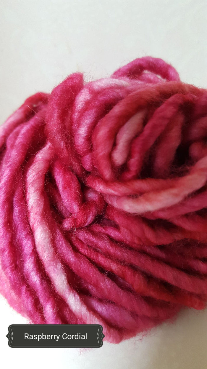RSS113- RASPBERRY CORDIAL - Hand Dyed Chunky Yarn for Rug Hooking