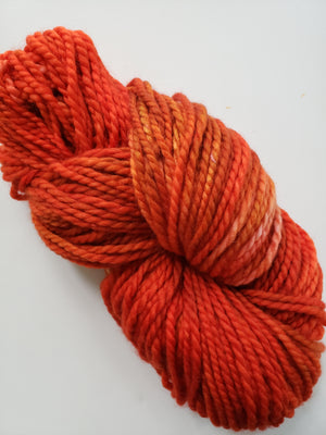 MAPLE RED - LIL TWISTY 2 PLY -  Hand Dyed Shades of Red, Orange and Caramel Worsted Yarn for Rug Hooking - RSS216