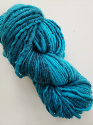 SEA GLASS - ONE PLY PLUSHY -  Hand Dyed Shades of Turquoise Chunky Yarn for Rug Hooking - RSS221