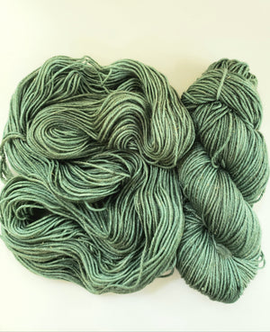 SEASONAL GREENERY SPARKLE - Merino/Gold Stellina -  Hand Dyed Shades of Green - Yarn for Rug Hooking - RSS249