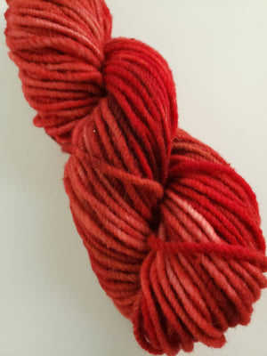 STRAWBERRY FINCH  -  Hand Dyed Shades of Red/Tan Worsted/Aran Yarn for Rug Hooking - RSS183