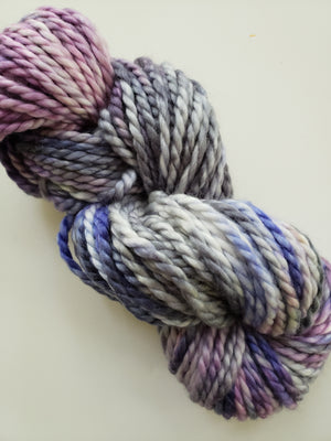 STORM'S BREWING - BIG TWISTY 2 PLY -  Hand Dyed Shades of Purple, Pink, Grey and Cream Chunky Yarn for Rug Hooking - RSS228