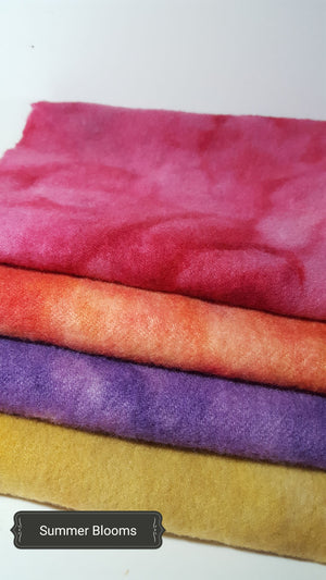 Hand Dyed Studio Cloth Bundles - SUMMERTIME BLOOMS - Wool Bundle - RSS109