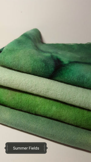 Hand Dyed Studio Cloth Bundles - SUMMER FIELDS - Wool Bundle - RSS110
