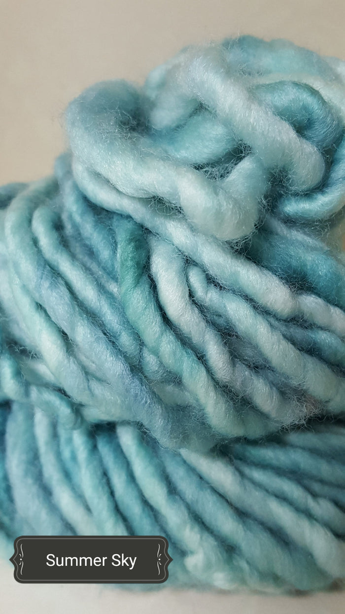 RSS119 - SUMMER SKY - Hand Dyed Chunky Yarn for Rug Hooking