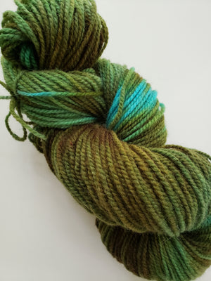TEA LEAVES -  Hand Dyed Shades of Blue-Green Worsted Yarn for Rug Hooking - RSS230